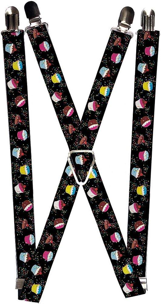 Buckle-Down Men's Suspender-Cupcakes, Multicolor, One Size