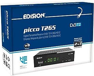 Edision PICCO T265, Full High Definition DVB-T2, H265 HEVC 10 Bit ricevitore digitale terrestre, WiFi Supporto, telecomand...