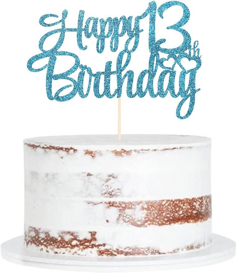 SALENEW very popular Blue Ranking TOP12 flash 13th birthday , happy topper cake