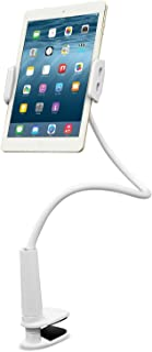 Aduro Tablet Gooseneck Universal Mount, Solid Grip 360 Rotating Flexible Hands-Free Viewing Stand for iPad, Galaxy & All Tablets, White