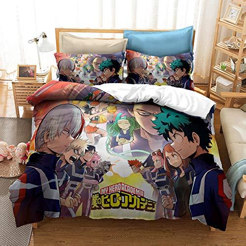 Aatensou Juego de ropa de cama con dibujos animados, 100% microfibra, poliéster, multicolor, My Hero Academia Printed Juego de funda nórdica decorativa (5,135 x 200 cm/50 x 75 cm)