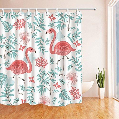 Nyngei EIN Pinker Flamingo Duschvorhang aus wasserdichtem Polyester & 12Hooks 183X183CM