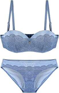Care Lingerie Set Sexy lace Embroidery Half Cup Bra, with Steel Ring, Adjustable Chest, Three Rows of Three Buckles. Close...