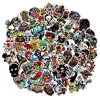 Skull Stickers Pack 100pcs Punk Stickers Bomb for Laptop Water Bottle Crazy Vinyl Horror Skeleton Decals for Adults Teens for Skateboard Computer Guitar Motorcycle Bike