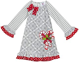 Counting Daisies Grey Candy Cane Dress (2t-6x)