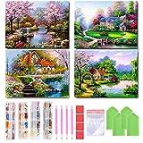 4 confezioni di pittura con diamanti 5D fai da te, quadro con paesaggio di villaggio, pittura con diamanti 5D, kit fai da te per la decorazione della casa, 11,8 x 15,7 pollici