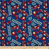 trucks fabric - Santee Print Works Kid's Choice Fire Trucks Royal Quilt Fabric by the Yard, Royal