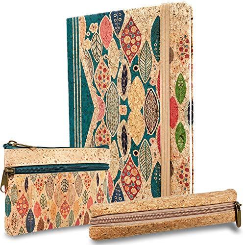 MENKAI cuadernos de viaje -bloc de nota sin fecha -cuaderno de bocetos -libreta de viaje -cuaderno corcho,cierre de goma elastica -color azul,tamano 21cmx14cm pesos 80g