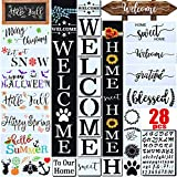 28 PCS Welcome Stencil for Painting on Wood,Home Sign Stencils Reusable Porch Sign and Front Door Vertical Welcome Comes with Stencil-Sunflower,Dog Paw Stencil and orther Pattern