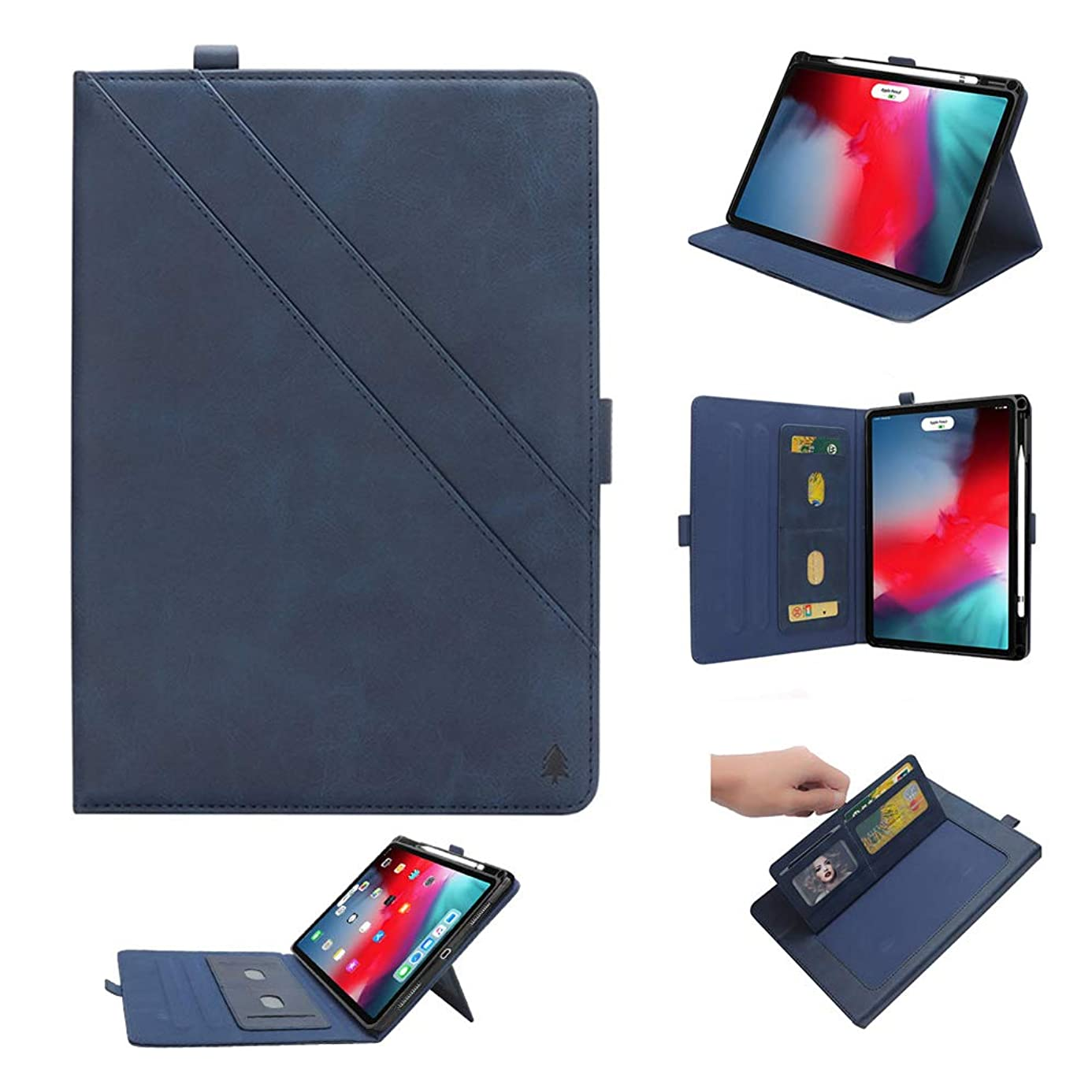 "iPad 11"" Pro Case, YiMiky Book Cover Case Protective Folio Case PU Leather Stand Cover with Pencil Slot [Support Apple Pencil Charging] Smart Cover Case for 2018 iPad Pro 11 Inch - Dark Blue fuh2328694"