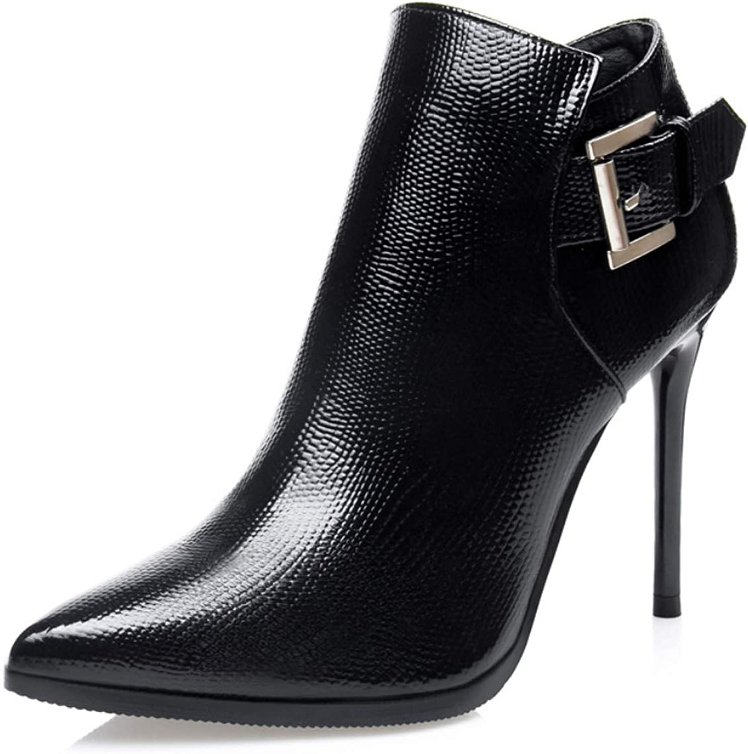 Womens Ankle Boots with Buckle Stiletto Heel shoes Sexy Pointed Toe Booties for Winter Night Club