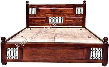 kapil wood decor King Size Sheesham Folding Bed without Storage -(Matte_Brown)