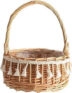 Rattan Basket Portable Flower Plant Basket Toy Fruit Storage Floral Flower Basket Outdoor Picnic Furniture Storage Organizer,as Shown