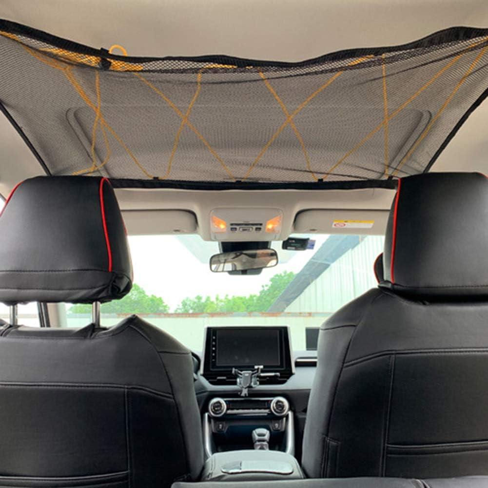 red el/ástica ajustable con cord/ón Red de techo para coche soporte de equipaje universal para art/ículos de ropa color negro Juanya organizador interior