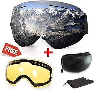 019d7884e6 Gafas de esquí,Gafas de esquí magnéticas Intercambiables/Lentes esféricas  Intercambiables con 2 Lentes
