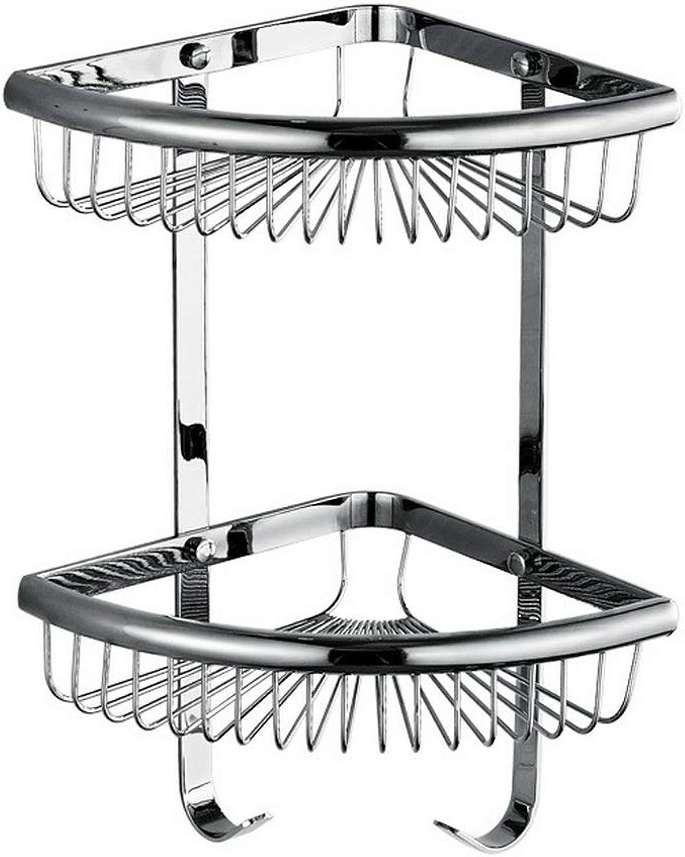 Bathroom Corner Frame, Silver Copper Belt Hook Fan-Shaped Double Rack, Multi-Function Bathroom Kitchen Small Object Corner Basket