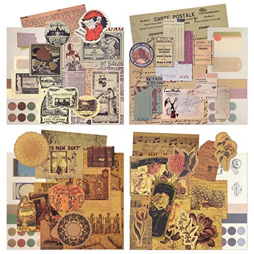 160 Blatt Vintage Pattern Paper Set Scrapbook-Papier Dekorpapier Kraftpapier mit einseitigem Druck in verschiedenen Größen und Formen für die Kartenherstellung Paper Craft Stanzcollage (Artistic)