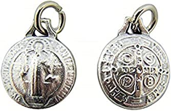 Religious Gifts by San Francis Imports, Inc UNIQUE Catholic Gift 1/2 Inch Tiny Rounded Spherical Shape Saint St Benedict of Nursia Protection Medal Charm Jewelry Pendant