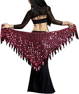 Women Belly Dance Costume Sequins Belt Skirts Wrap Hip Scarf Dancing Skirt