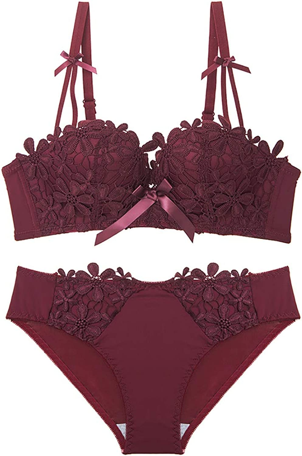 NICE' living hall Lace Embroidered Flowers and Comfortable Gathered Sexy Thickened Bra Set, Sponge, no Steel Ring, Adjustable Chest, Three Rows of Three Buckles. Comfortable (Size   Red)