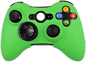 Silicone Protective Skin Case Cover for Microsoft Xbox 360 Wireless / Wired Controller + Thumb Sticks Caps Grips,Green