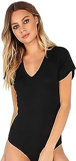 8a597751a98df1 MAKEMECHIC Women s Short Sleeve Tops Basic V-Neck Leotard Bodysuit Jumpsuit