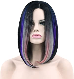 S_SSOY Ombre Wig Short Bob Hair Wigs Straight Full Wig Colorful Cosplay Daily Party Shoulder Wig for Women 3 Tones Pink Gray Blue+ Free Wig Cap