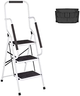3 Step Ladder Tool Ladder Folding Portable Steel Frame MAX 500 lbs Non-Slip Side armrests Large Area Pedals Detachable Too...