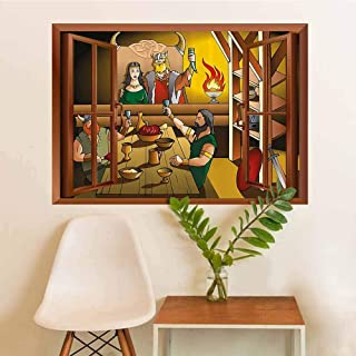 AuraiseHome Cartoon Traditional Waterproof Home Decor King and Queen Feasting with Brave Warriors Ancient Scandinavia Medieval Historical Sticker W36xL48 INCH