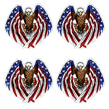 Hit or Miss Designs  4 Pack of Reflective Bald Eagle American Flag 2  x 2   - Full Color - Sticker Decal for Hard Hats Helmets Toolboxes Cars Trucks Motorcycles or Any Clean Smooth Flat Surface