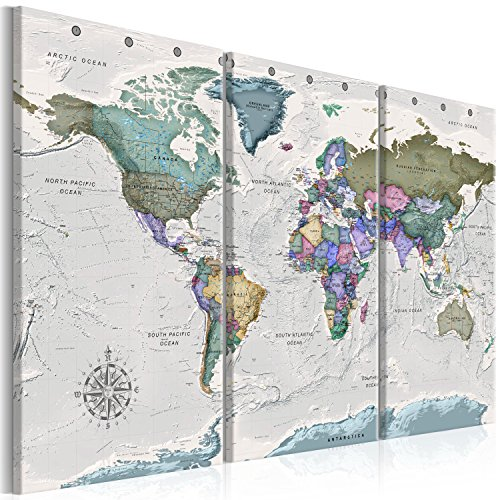 murando Canvas Wall Art World map 135x90 cm Non-Woven Canvas Prints Image Framed Artwork Painting Picture Photo Home Decoration 3 Pieces World map Grigio k-A-0380-b-e