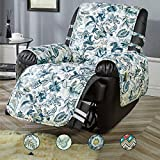 STONECREST Recliner Cover, Water Resistant Print Recliner Slipcover, Washable Furniture Protector for Pets, Seat Width Up to 28 Inches with Straps(Elegant Blues, Recliner 28')