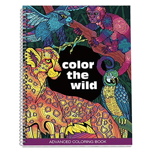 No Name Paper Co. Color The Wild Adult Coloring Book - 8.5 x 11 inches, Spiral Bound, Stress Relieving, Gift for Sister, Mother, Busy Grown Up