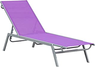 Outsunny Bain de Soleil transat - Chaise Longue - Design Contemporain - Dossier inclinable Multi-Positions - métal époxy t...