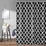 Trimming Shop Bathroom <span class='highlight'>Shower</span> <span class='highlight'>Curtain</span> 180 x 200 CM, Black Trellis Patterned, Premium Polyester Mildew & Mould Resistant Bath <span class='highlight'>Curtain</span>s with 12 Hooks