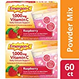 Emergen-C 1000mg Vitamin C Powder, with Antioxidants, B Vitamins and Electrolytes, Vitamin C Supplements for Immune Support, Caffeine Free Drink Mix, Raspberry Flavor - 60 Count/2 Month Supply