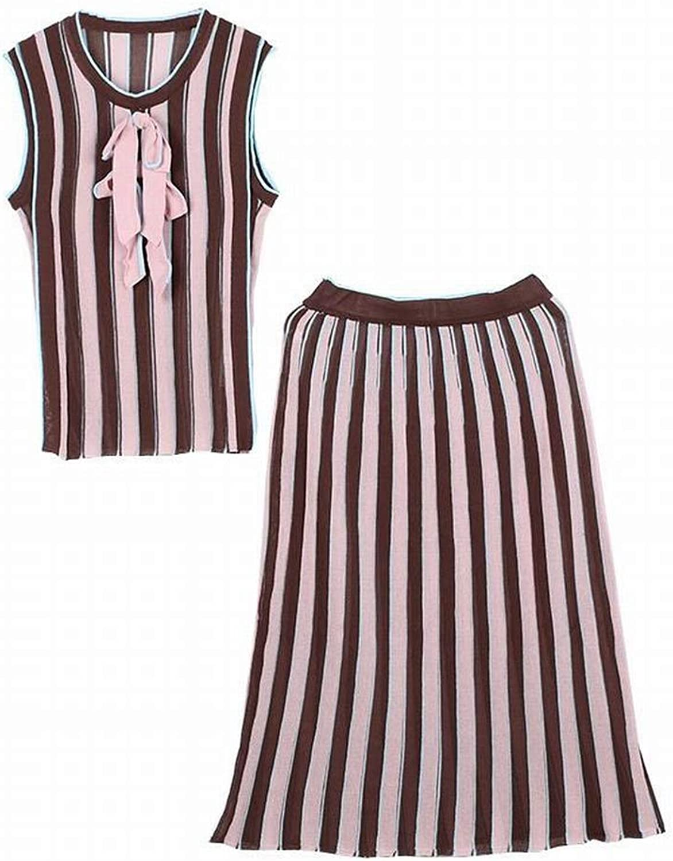 Good dress Set Streifen Farbe Block Bogen rmel Stricken Top + Midi Rock Zweiteilige Set