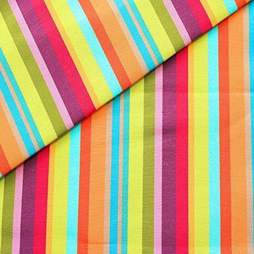Stoff Kontor Liegestuhl Outdoorstoff Meterware Breite 45 cm Streifen Mix Multicolor