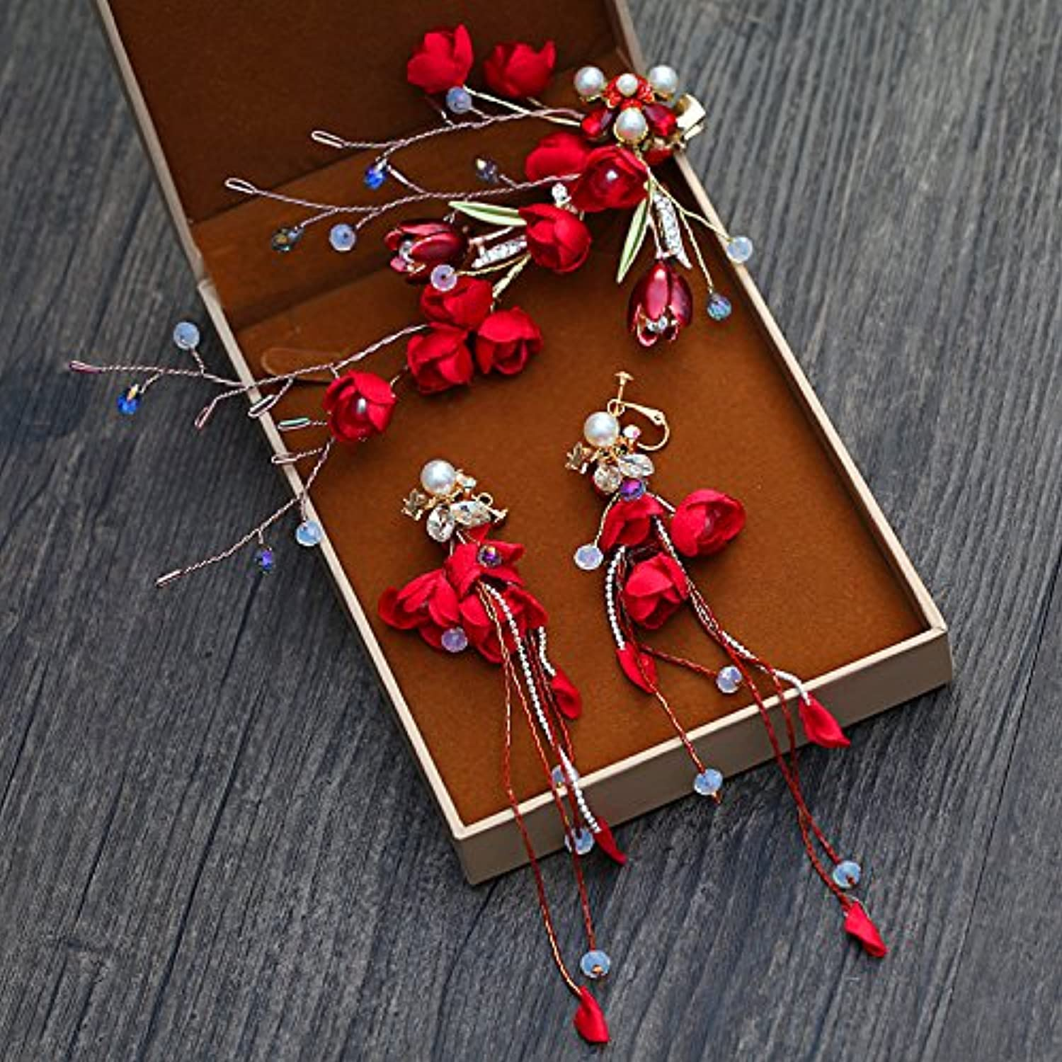 GTVERNHRetro Friezes Jewelry Manually The Wine is Red The First Flower Earrings Accessories Wedding and Hair Ornaments