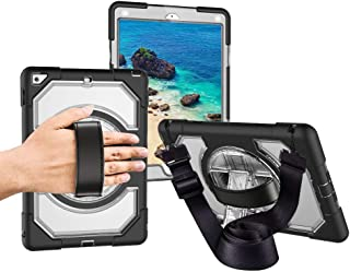 iPad 6th/5th 9.7 inch Generation Case, Miesherk [Full-body] Drop Protect &Shockproof Hybrid Armor Protection with 360 Rotating Stand Hand Strap & Shoulder Strap for iPad 5th/6th 9.7 inch (Clear+Black)