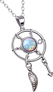 KELITCH Initial Choker Necklace Dream Catcher Synthetic Opal Pendant Necklace with Leaf & Arrow