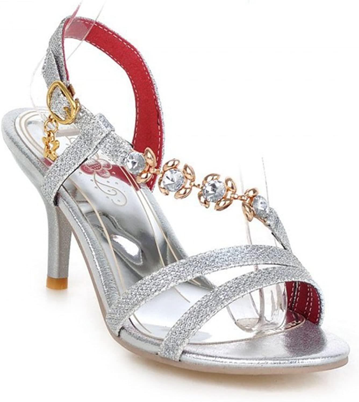 T-JULY Womens Ladies Fashion Platform Pumps Stiletto Heel Crystal Rhinestone Beaded Chains Buckle Slides Comfy Dress Sandals
