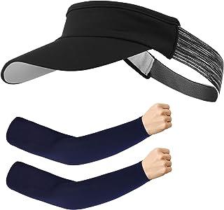 Kapsuen Sun Visors for Women and Men, Visors Hats for Sports and Running, Summer UV Sun Hat with Elastic Headband (Black)