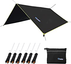 LLY Lightweight Hammock Sun/Rain Tarp Shelter Shade Tent Tarp with Stakes and Ropes for Camping Backpacking Fishing