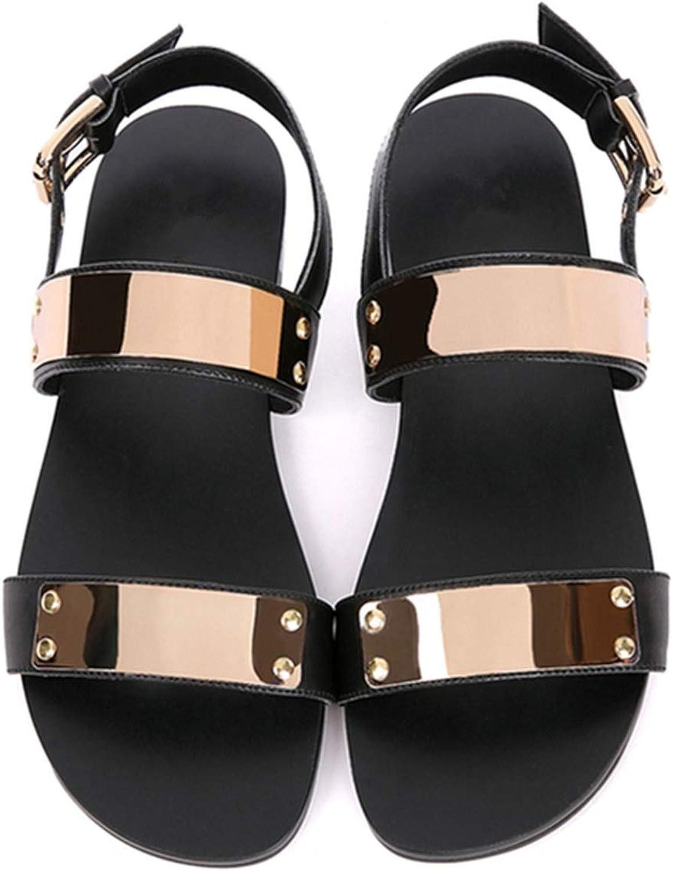 Wood-1 6-12 45 Men Genuine Leather Metal Flat Thongs Roman Rivet Gladiator Summer Beach Sandals Punk shoes