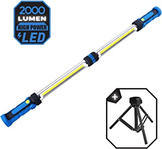 LED Work Light, Underhood Work Light, Rechargeable Work Light with Tripod Stand, 2000 Lumen Mechanic Light, Car Detailing Light Bar with Magnets and Hooks, Portable Work Light for Job Site Lighting