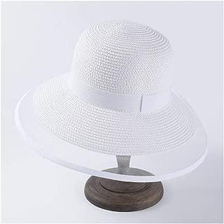 SHENTIANWEI Summer hat Female Retro Wind Big Visor Black White mesh Side Straw hat Beach hat (Color : White)