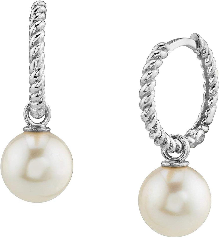 THE PEARL SOURCE 14K Gold AAA Quality Round Genuine White Akoya Cultured Pearl Via Earrings for Women