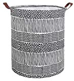 CLOCOR Collapsible Round Storage Bin/Large Storage Basket/Clothes Laundry Hamper/Toy Storage Bin(Black Spots)