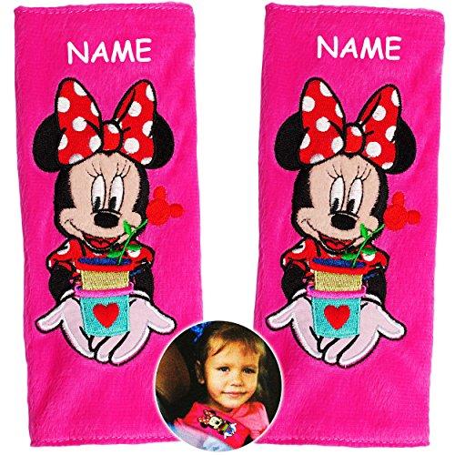 alles-meine.de GmbH 2 TLG. Set _ Gurtschoner / Gurtpolster -  Disney Minnie Mouse  - incl. Name - Gurtschutz - für Sicherheitsgurt - Gurt Polster - für Auto / Kindersitz / Auto..